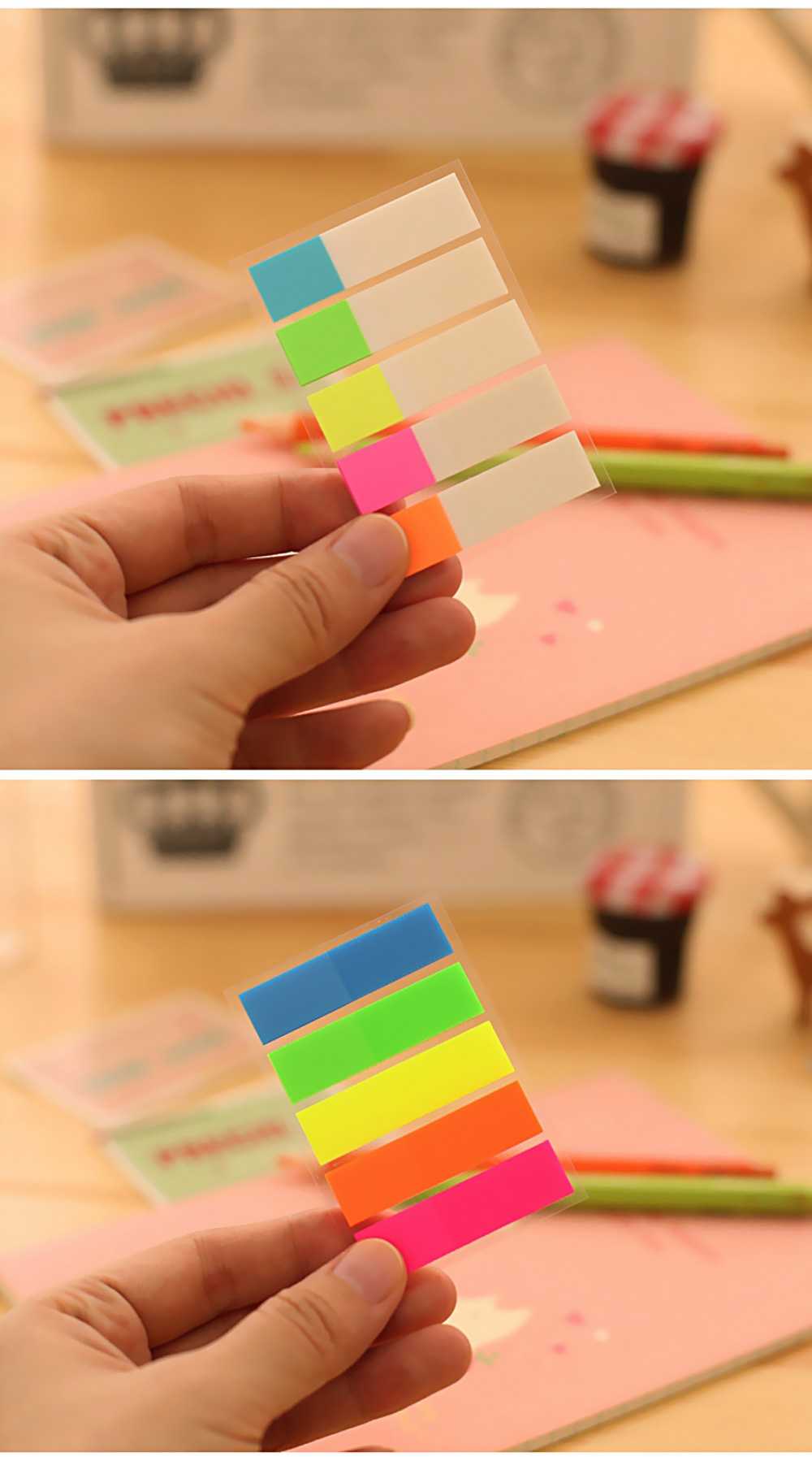 Fluorescent Index Sticker Bookmark Memo Pad Tab Sticky Notes Office School Supplies Stationery